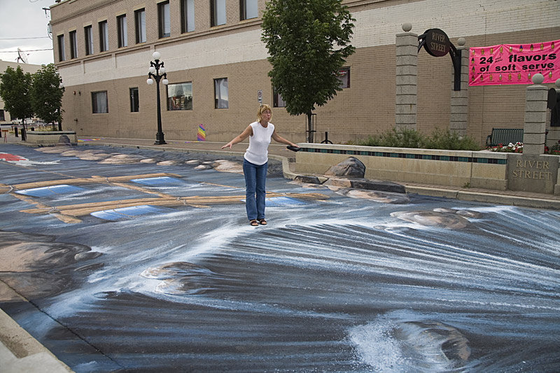 3d chalk art riverside river waterfall close edgar mueller