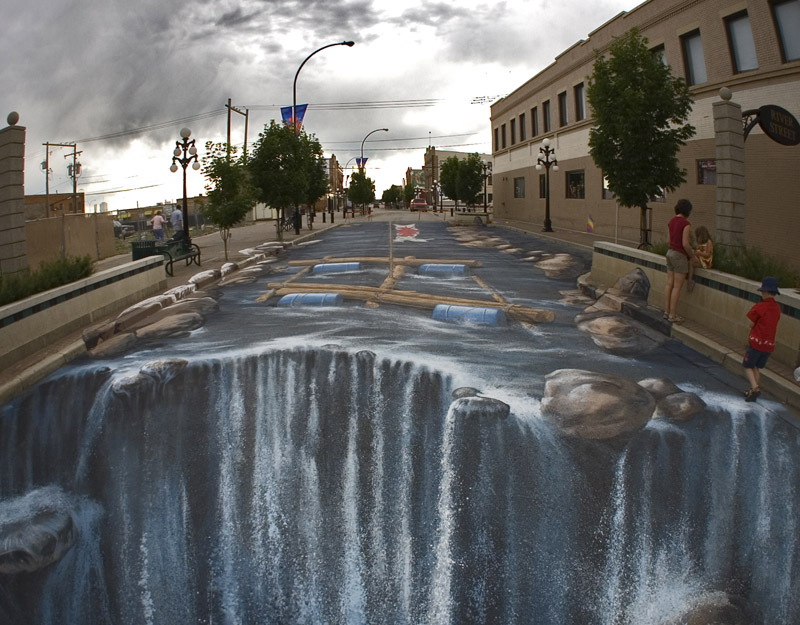 Edgar mueller – 3d chalk art – riverstreet river waterfall