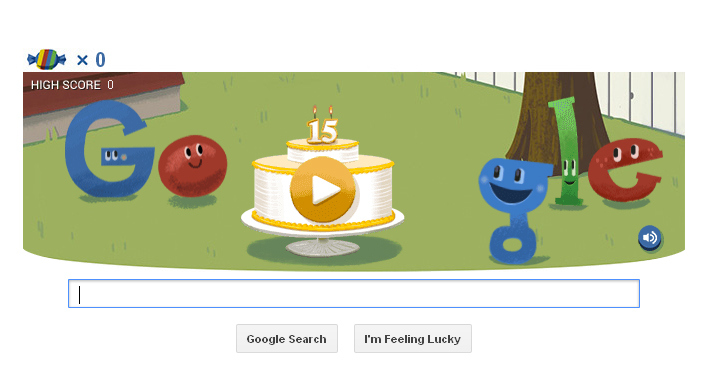 google 15th birthday doodle